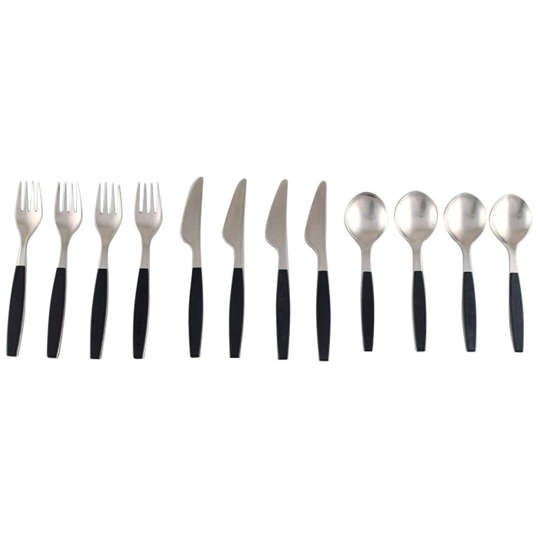 Henning Koppel. Complete Four-Person Dinner Service. Strata Cutlery For Sale