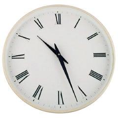Henning Koppel for Georg Jensen, White Plastic Wall Clock, 1960s-1970s