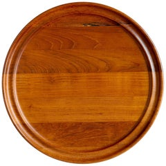 Henning Koppel Teak Tray for Georg Jensen, Staved Wood Round Serving Tray