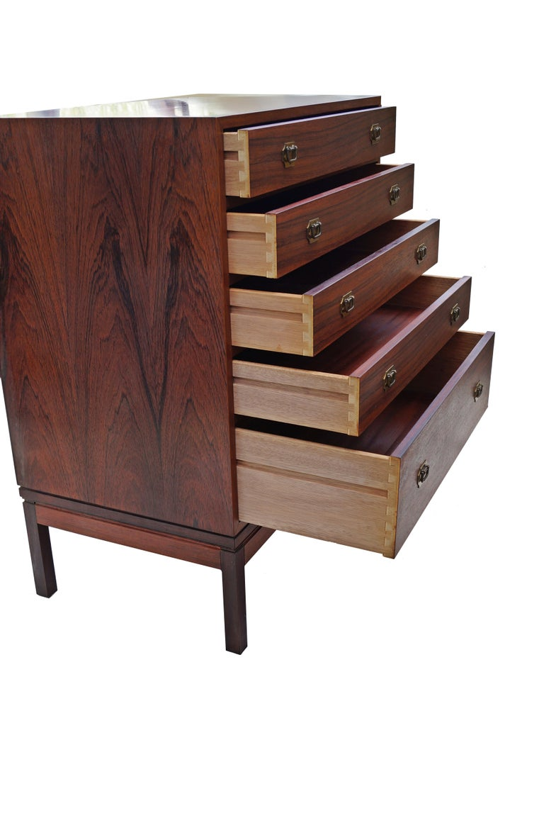 Henning Korch Rosewood Campaign Jewelry Lingerie Chest Dresser Flat File In Good Condition For Sale In Wayne, NJ