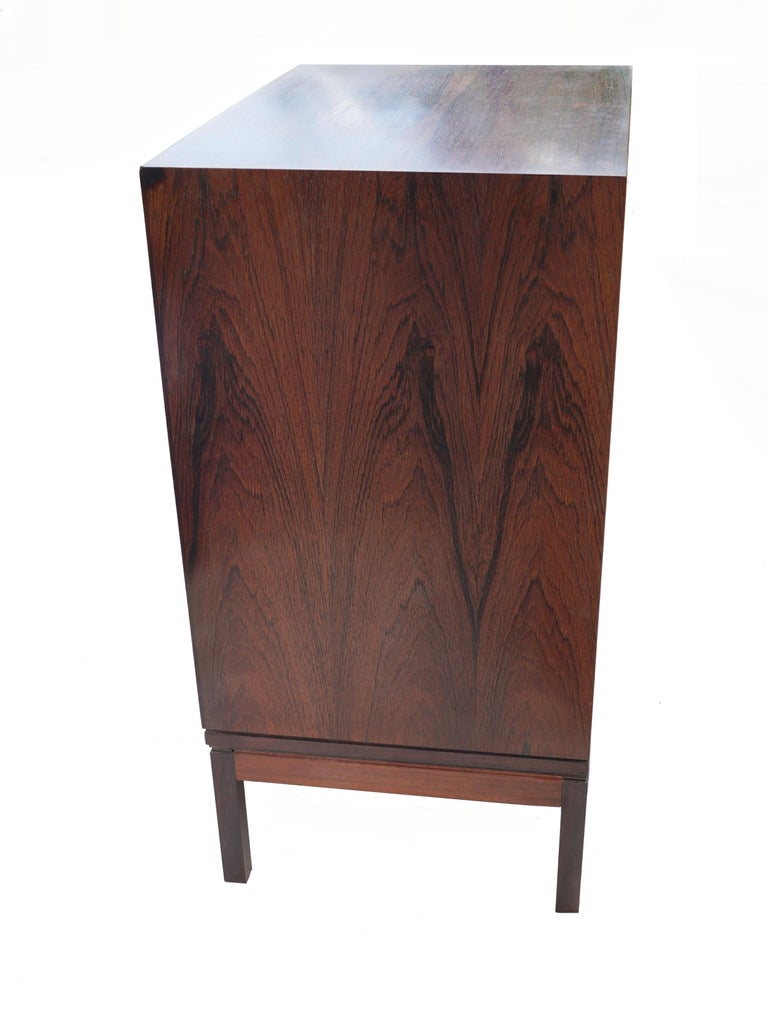 Mid-20th Century Henning Korch Rosewood Campaign Jewelry Lingerie Chest Dresser Flat File For Sale