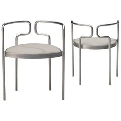 Henning Larsen for Fritz Hansen Pair of Armchairs FH 9230 in Steel and Leather