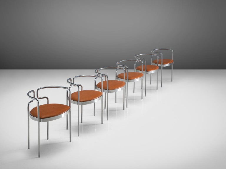 Danish Henning Larsen Set of Six Tubular Dining Chairs with Cognac Leather For Sale