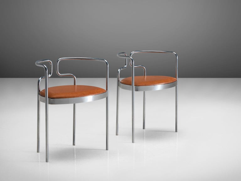 Mid-20th Century Henning Larsen Set of Six Tubular Dining Chairs with Cognac Leather For Sale