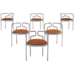 Henning Larsen Set of Six Tubular Dining Chairs with Cognac Leather