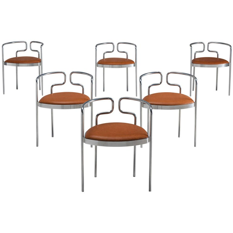Henning Larsen Set of Six Tubular Dining Chairs with Cognac Leather For Sale