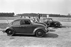 Three models of the Volkswagen beetle parking, Germany 1938 Printed Later