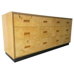 Henredon 7 Drawer Dresser w/ Refinished Olive Burl Wood w/ Macassar Ebony Inlays