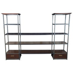 Henredon Acquisitions Courbin Mahogany and Iron Étagère TV Console Bookcase