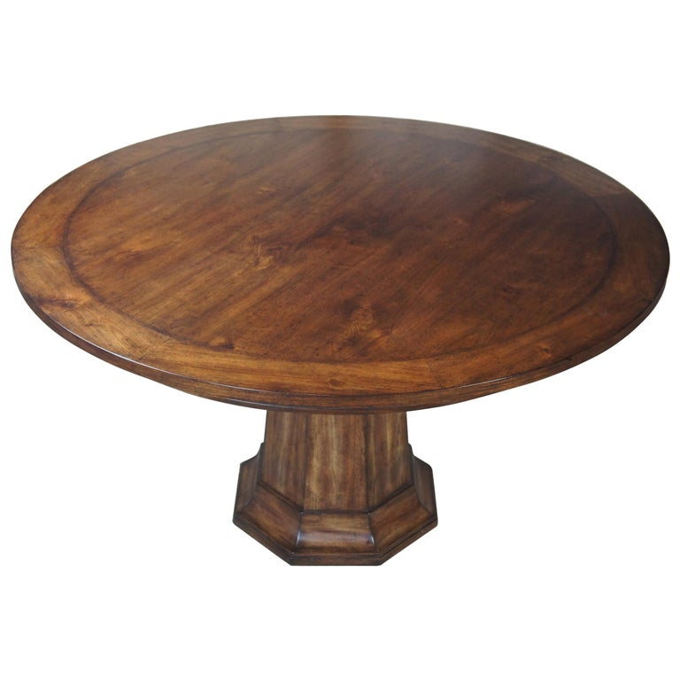 Henredon Acquisitions Round Mahogany Glass Top Pedestal Dining Table 3400-20