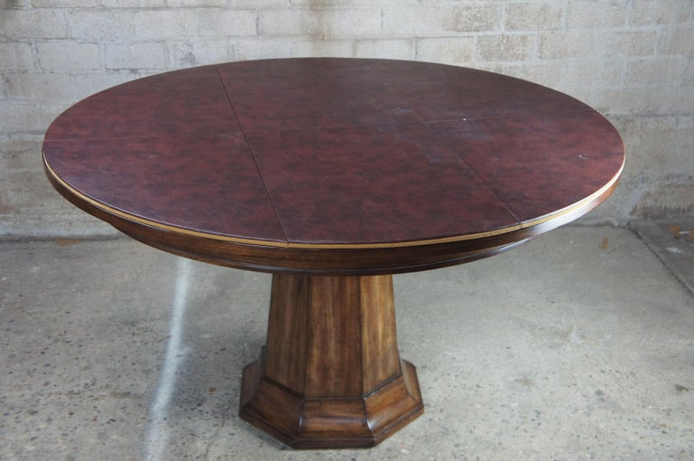 Henredon Acquisitions Round Mahogany Glass Top Pedestal Dining Table 3400-20 6