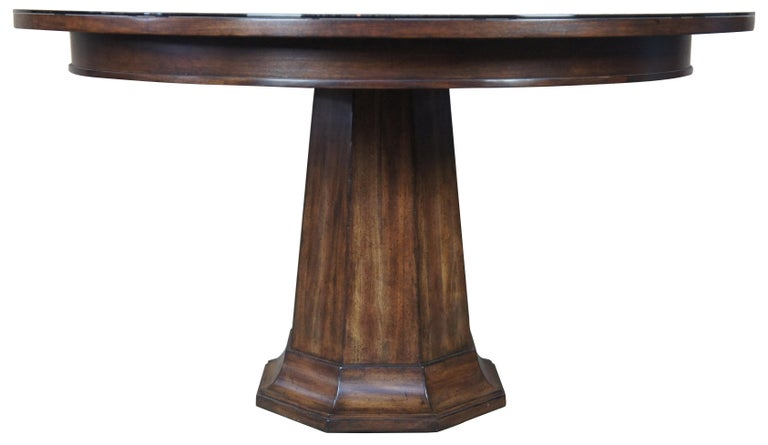 Henredon Acquisitions round mahogany glass top pedestal dining table 54