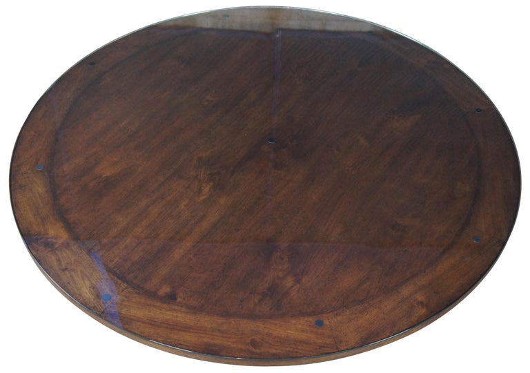 20th Century Henredon Acquisitions Round Mahogany Glass Top Pedestal Dining Table 3400-20
