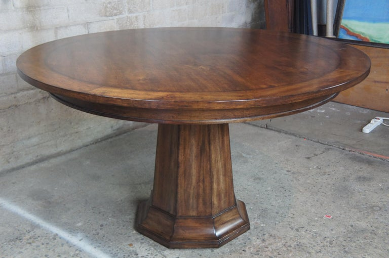 Henredon Acquisitions Round Mahogany Glass Top Pedestal Dining Table 3400-20 1