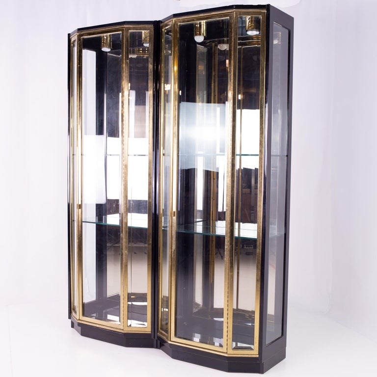 Henredon black and brass midcentury display cabinets - Pair