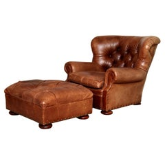 Henredon Brown Leather Writer's Lounge and Ottoman, Armchair, Iconic Club Chair