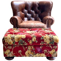 Henredon Brown Leather Writer's Lounge, Armchair, Red Velvet Floral Ottoman