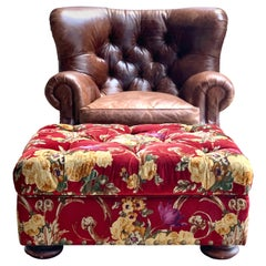 Henredon Brown Leather Writer's Lounge, Armchair, Red Velvet Floral Ottoman