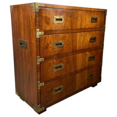 Henredon Campaign Style 4-Drawer Chest, Richly Grained Book Match Walnut