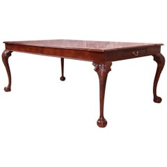 Henredon Chippendale Banded Mahogany Extension Dining Table, Newly Refinished