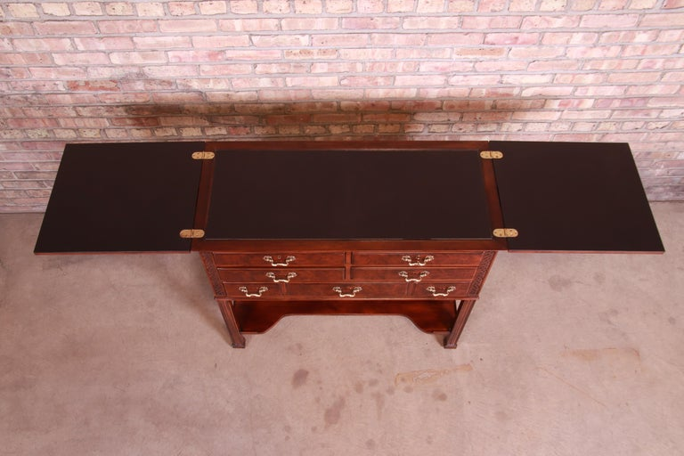 Henredon Chippendale Carved Mahogany and Burl Wood Flip Top Dry Bar Server For Sale 7