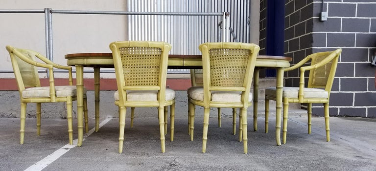 Hollywood Regency Henredon Faux Bamboo Dining Set, 7-Piece Set