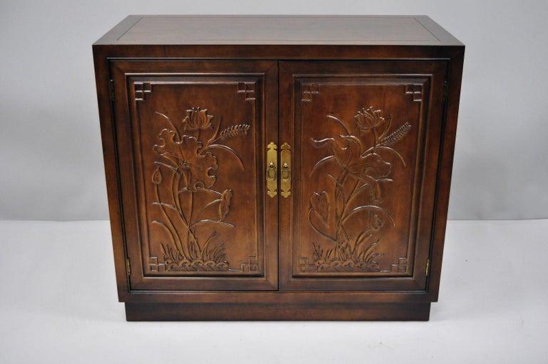 Henredon Folio 16 Asian Chinoiserie Fl Carved Oriental Server Cabinet Usa For 6