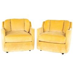 Henredon Folio 500 Midcentury Barrel Lounge Chairs, Pair