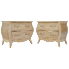 Henredon French Country White Wash Finish Bombe Nightstands End Side Tables