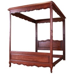Henredon French Provincial Louis XV Carved Oak Queen Size Canopy Bed