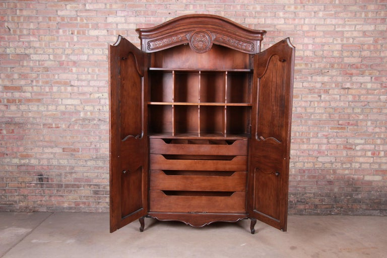 Henredon French Provincial Louis XV Carved Walnut Armoire Dresser 1