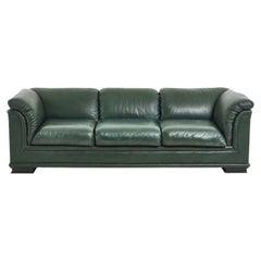 Henredon Green Leather Sofa, 1980
