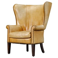 Henredon Heavy Leather Wingback Club Chair, Signed