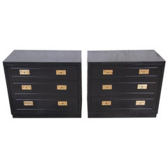 Henredon Hollywood Regency Campaign Black Lacquered Bedside Chests, Refinished