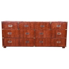 Henredon Hollywood Regency Campaign Mahogany and Brass Dresser or Credenza