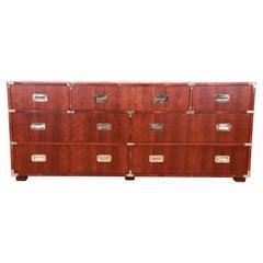 Henredon Hollywood Regency Campaign Walnut and Brass Dresser, Newly Refinished