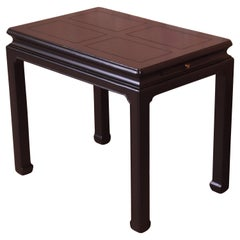 Henredon Hollywood Regency Chinoiserie Black Lacquered Occasional Side Table