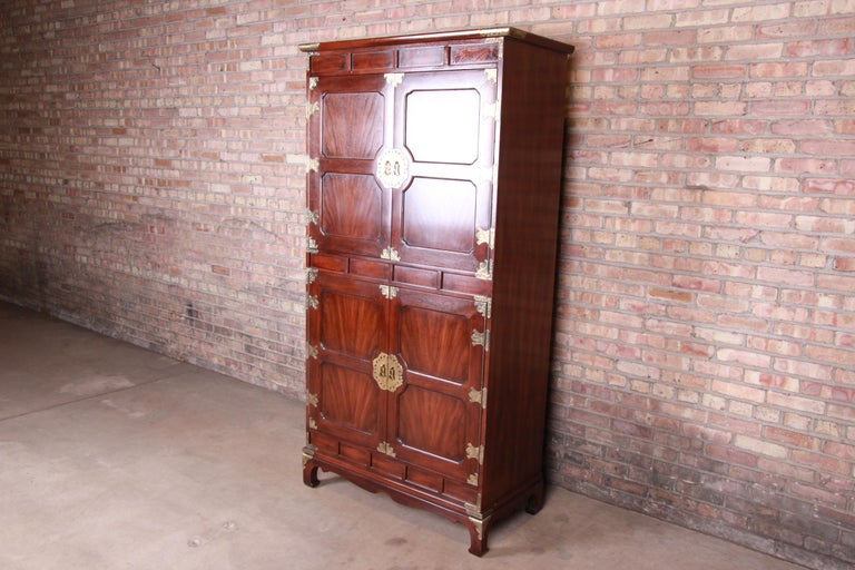 American Henredon Hollywood Regency Chinoiserie Mahogany and Brass Armoire Dresser For Sale