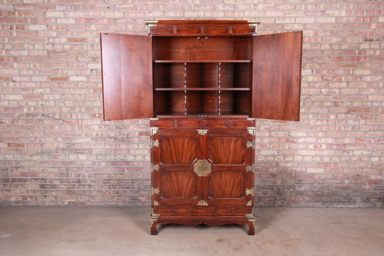 Henredon Hollywood Regency Chinoiserie Mahogany and Brass Armoire Dresser For Sale 1