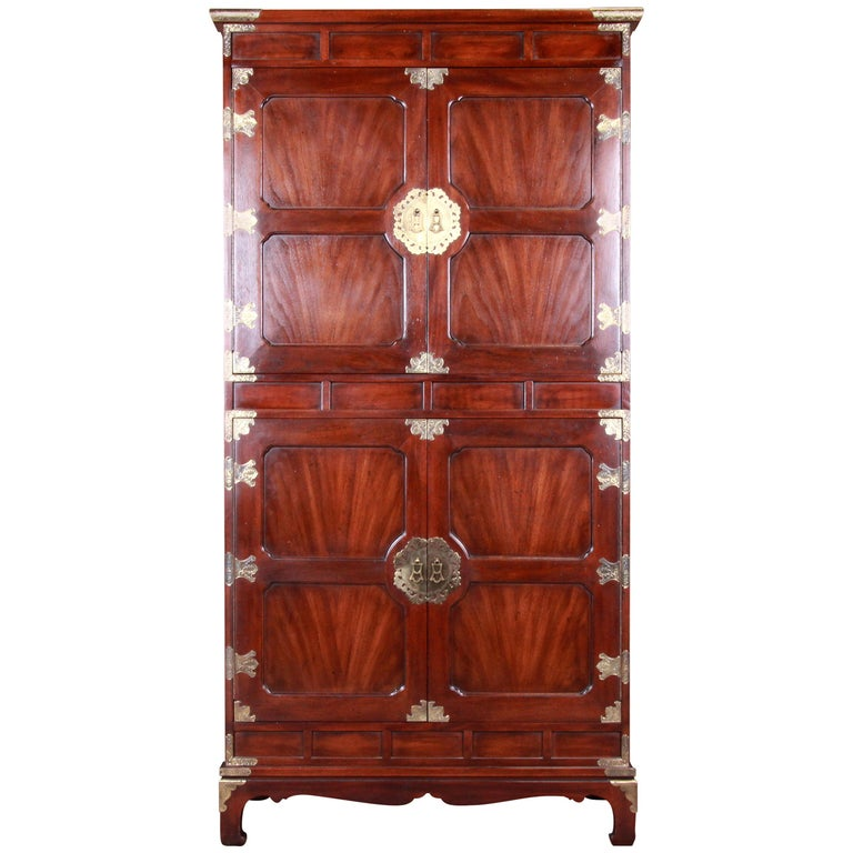 Henredon Hollywood Regency Chinoiserie Mahogany and Brass Armoire Dresser For Sale