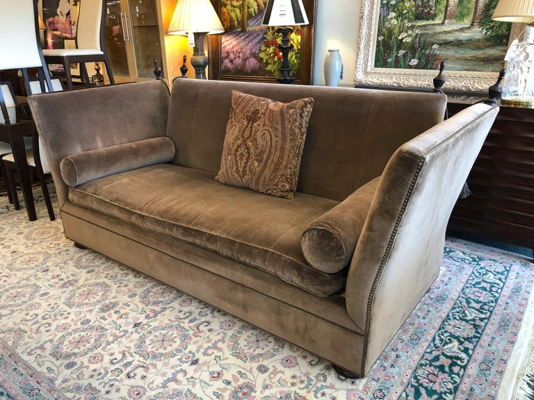 Henredon Knole Cambridge Sofa In Mushroom Velvet For Sale