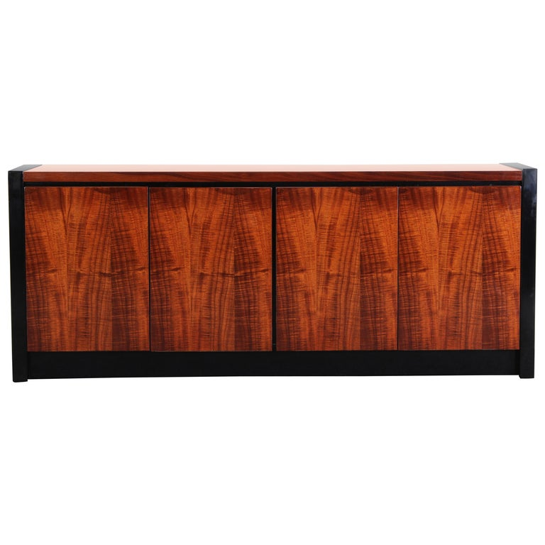 Koa Wood Kitchen Cabinets: Henredon Koa Wood And Black Lacquer Credenza At 1stdibs