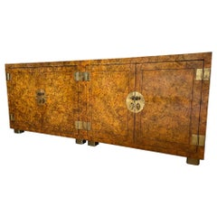 Henredon Lacquered Faux Tortoise Shell Patinated Cabinets, a Pair