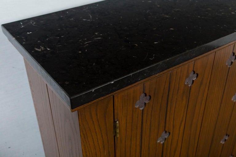 American Henredon Marble-Top Medallion Console/Cabinet For Sale