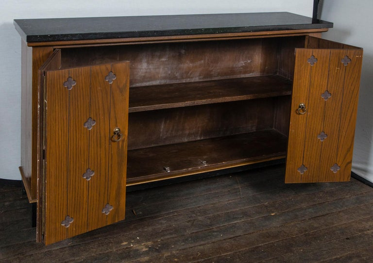 Wood Henredon Marble-Top Medallion Console/Cabinet For Sale