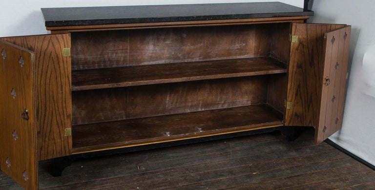Henredon Marble-Top Medallion Console/Cabinet For Sale 1