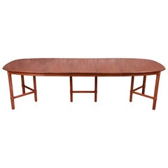 Henredon Mid-Century Modern Boat-Shaped Walnut Dining Table, Newly Refinished