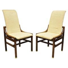 Henredon Mid-Century Modern Oak Wood and Brass Modern Dining Side Chairs, a Pair