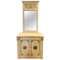 Henredon Mid-Century Modern Two-Piece Cabinet and Mirror with Gild Medallions