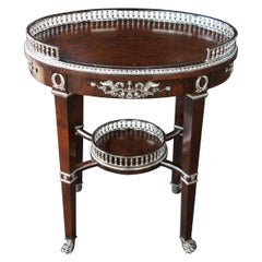 Henredon Neoclassical Revival Burlwood Bar Cart Accent Table Paw Foot Silver
